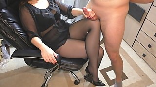 Teen School Teacher helps with lessons - Handjob on Legs in Pantyhose