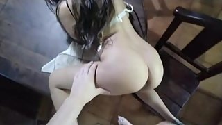 Screamming Teen Table Fuck POV - Little Perfect Ass Cock Rubbing Tease