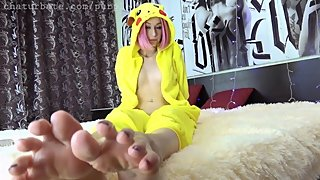 Pikachu cosplay loves feet girl cutie