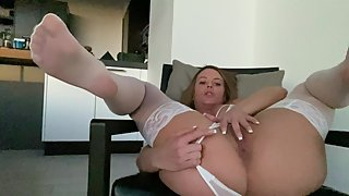 Rahyndee James all natural hot girl sexy lingerie thigh highs