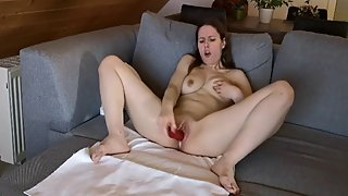 Hot German Teen PAWG Squirts After Masturbation With Her Vibrator