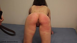 Trembling ass spanked with belt and used pussy fucked (part 1: spanking)