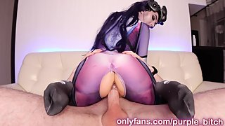 Widowmaker plays with fuckmachine dick Anal Purple Bitch cosplay young cute