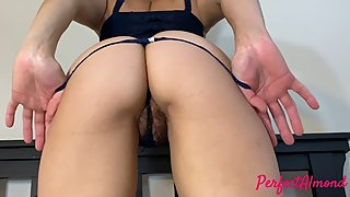 wife jacksoff husband with her ass cameltoe slide hairy pussy on cock 4k