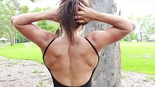 Young Muscle Girl Massive Back Twitching & Flexing