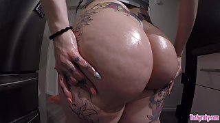Phat Booty pawg oiled up, juicy ass cock tease