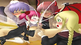 A guy is reverse gangbanged by a group of magical monster schoolgirls