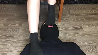 teen student in dirty black socks smelling foot fetish domination pov