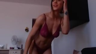 Sexy fit cam girl posing