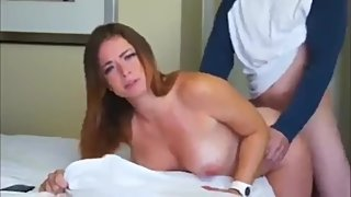 Horny babe gets fucked by ex while phone talking to her boyfriend
