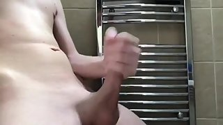 Quick valentines day wank before shower (CUMSHOT OVER NAKED BODY)