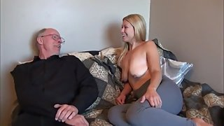 Grandpa with big cock abuses horny girl with big saggy tits