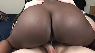Black Teen Step Sister Rides Dick For Creampie
