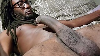 Stroking black cock solo