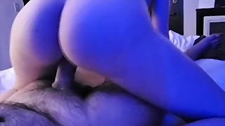 White girl with nice ass rides latino cock in hotel room.