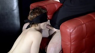 Petite Redhead Photo Shoot and Bondage Blowjob With Old Man