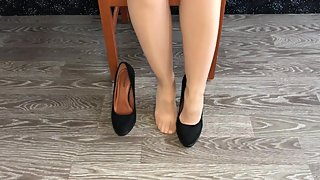 teen student girl in nylon stockings show shoes and stinky foot domination