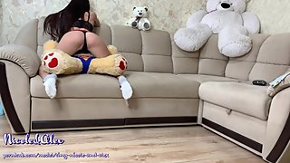 TEEN FUCKED BEAR. SOLO MASTURBATION WITH A BEAR. WANTS HARD SEX